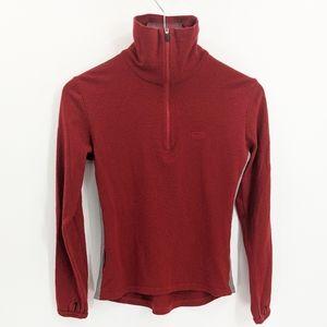Icebreaker Red Merino Wool Quarter Zip Base Layer